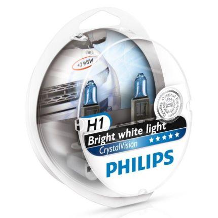 Комплект автоламп Philips H1 12V 55W P14.5S CRISTALVISION 2xH1+2x W5W Компл (4шт)