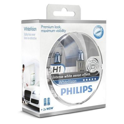 Комплект автоламп Philips H1 12V 55W P14.5S WHITE VISION+60%(4300K) 2H1+2W5W Компл (4шт)