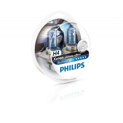 Галогеновая лампа Philips BLUE VISION ULTRA (H4, 12342BVUSM) Компл (2шт)