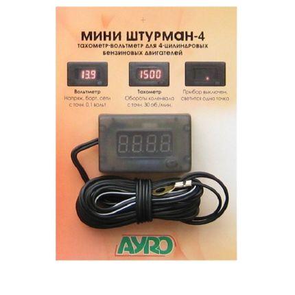 Цифровой автомобильный прибор Мини Штурман 4 (вольтметр+тахометр) 12В