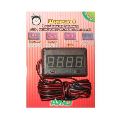 Цифровой автомобильный прибор Штурман 5 (вольтметр+тахометр+часы) 12В