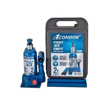 Домкрат гидравлический бутылочный CONDOR K5102 2 тонны (кейс)