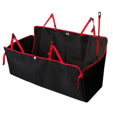 Автогамак для собак DOX Standart чёрный-красный
