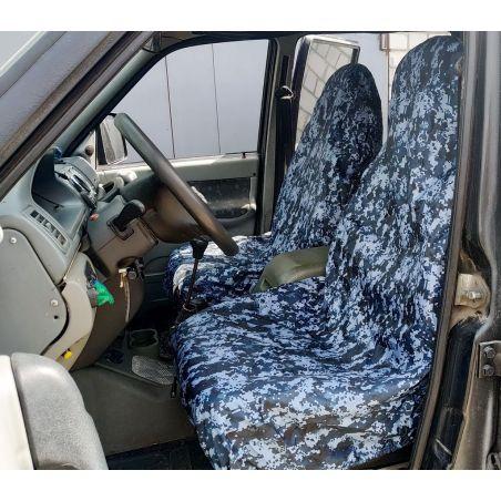 Грязезащитные чехлы на передние и задние сиденья автомобиля СИНИЙ ПИКСЕЛЬ