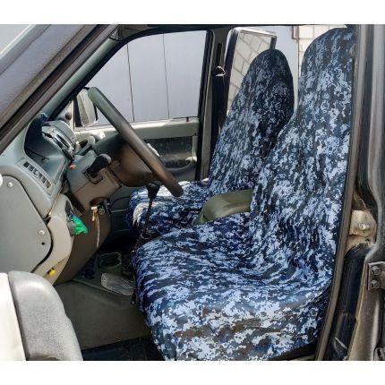 Грязезащитные чехлы на передние сиденья автомобиля СИНИЙ ПИКСЕЛЬ