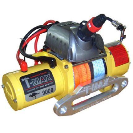 Электрическая лебёдка T-Max EW- 9000 12V/4100кг /COMPETITION SERIES/RADIO/синт.трос 9,1mm*30m
